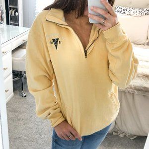 Montauk Pale Yellow Quarter Zip Sweatshirt